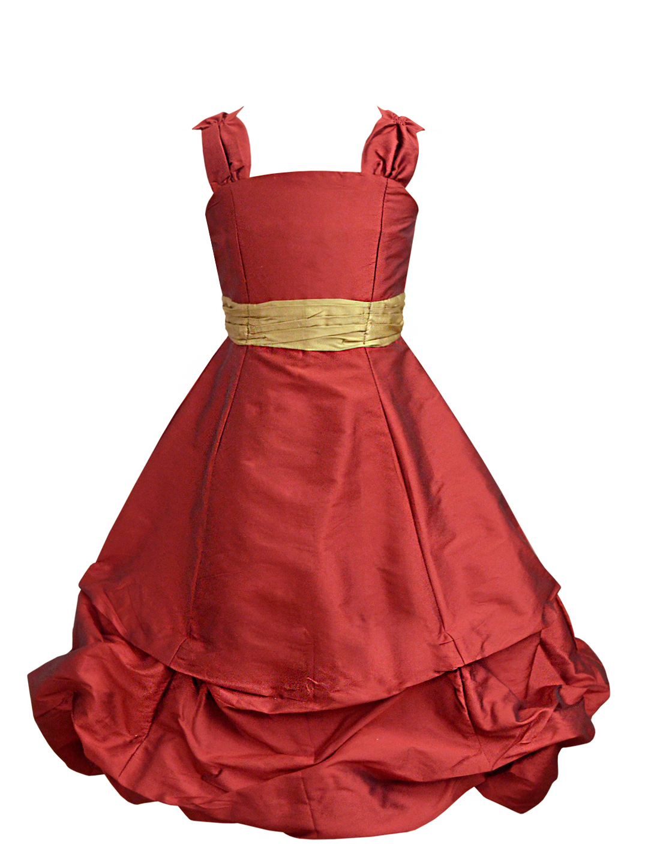 Maroon Ballroom Gown with Golden Belt - A.T.U.N.