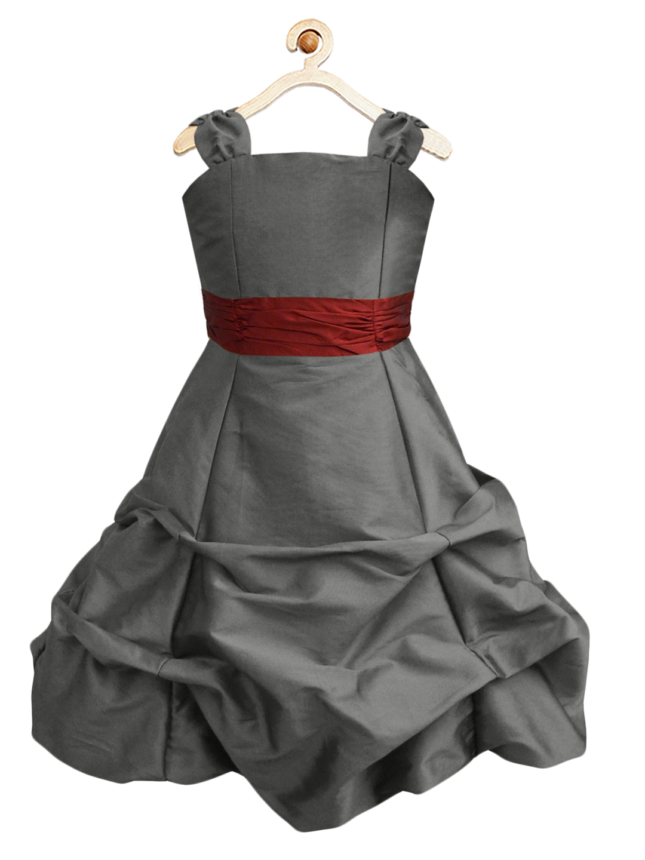 Lavastone Ballroom Gown with Maroon Belt - A.T.U.N.