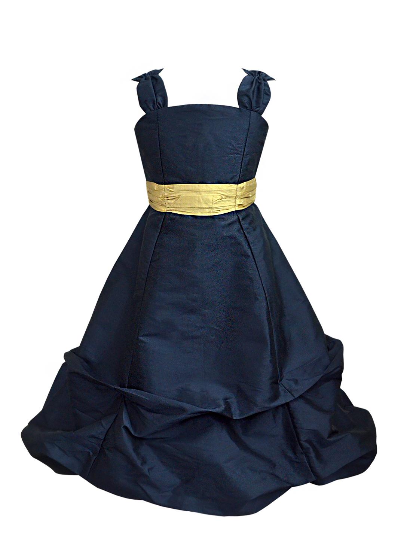 Midnight Blue Ballroom Gown with Golden Belt - A.T.U.N.