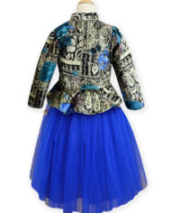 Royal Blue-Black Short Jacket Lehenga (Back)