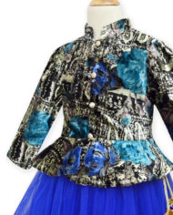 Royal Blue-Black Short Jacket Lehenga (Side)