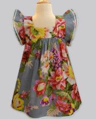 Floral Ardour Grey Angel sleeve dress (2)