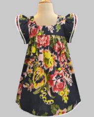 floral ardour black angel sleeve dress-2