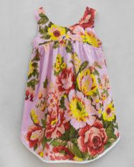 floral ardour pink high low hem dress-2