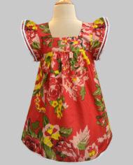floral ardour red angel sleeve dress-2