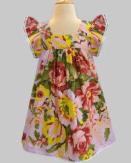 pink floral ardour angel sleeve dress-2